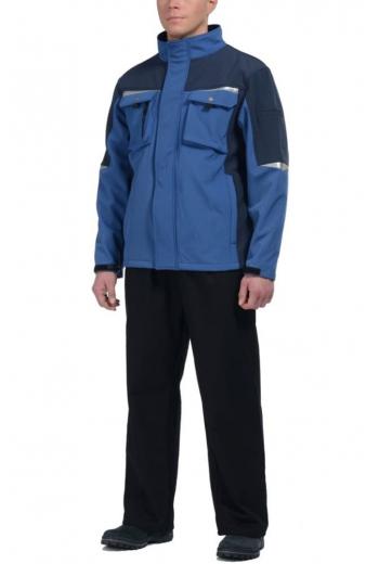 """Куртка ПРОФИ ткань """"Softshell"""" синий-темно-синий"""